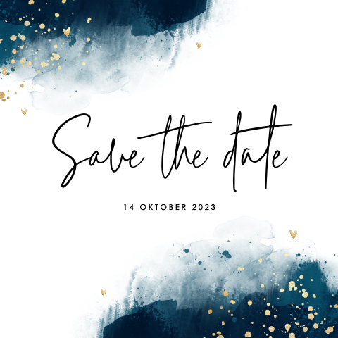 Hippe save the date met donkerblauwe watercolour