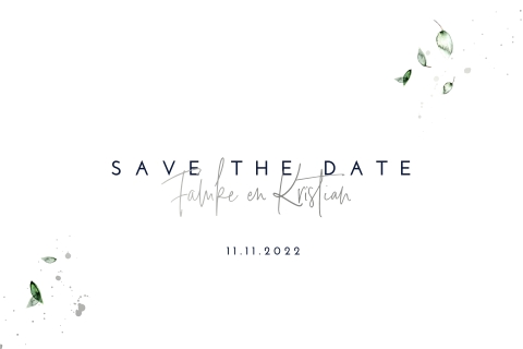 Hippe botanische save the date met namen in zilverfolie