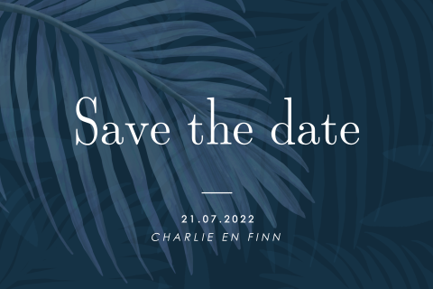 Save the date kaart met jungle design