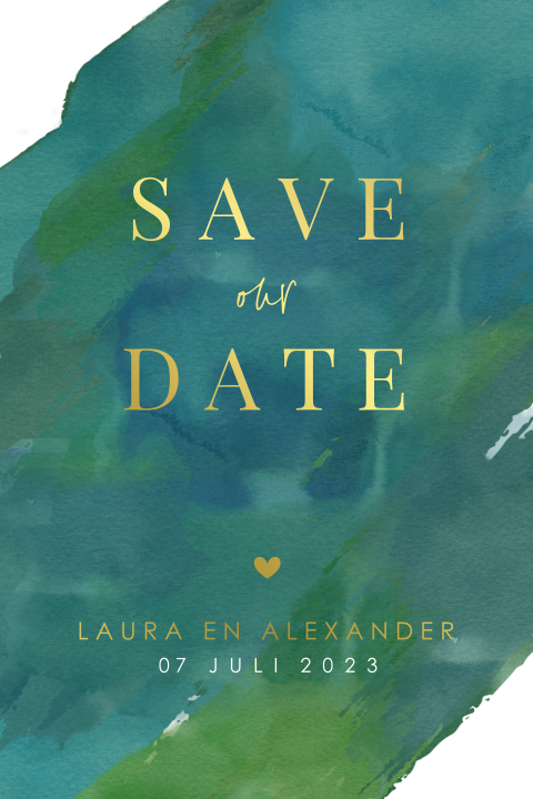 Goudfolie Save the date kaart met donkergroene watercolor
