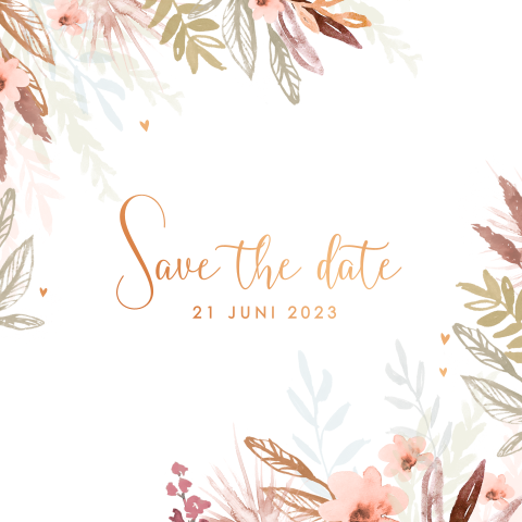 Romantische save the date met watercolor bloemen