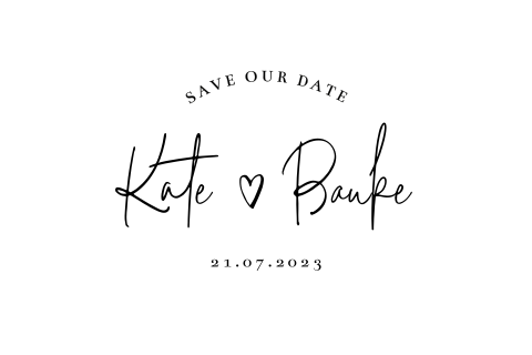 Save the date kaart wit monogram clean