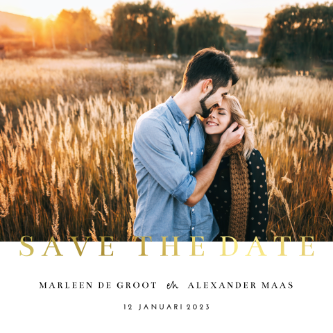 Save the date met foto en goudfolie