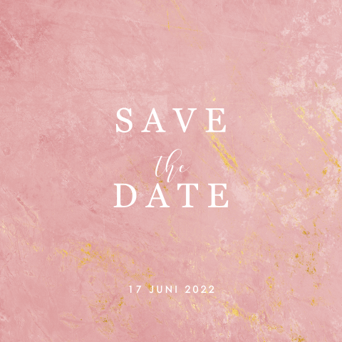 Save the date met roze marmer