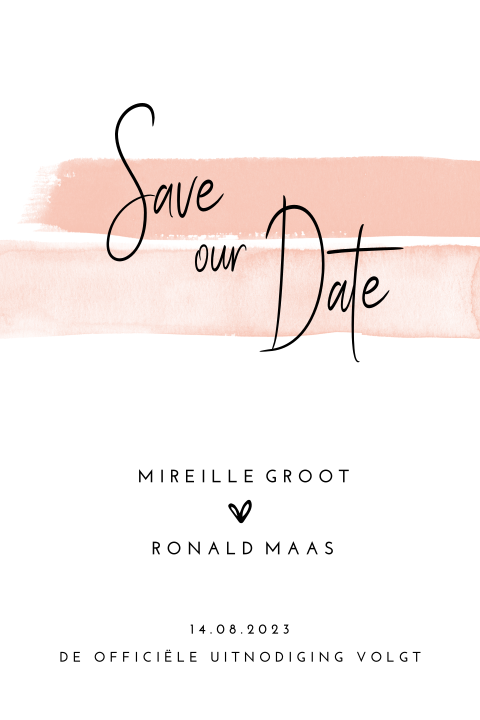 Stijlvolle Save the Date kaart Romantic Blush