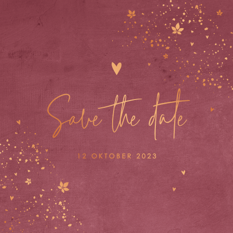 Romantische save the date hart met koperfolie