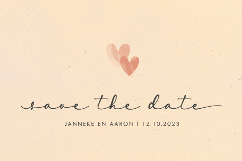 Save the date romantisch hartjes watercolor duurzaam
