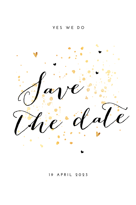 Hippe save the date kaart met okergeel en goud
