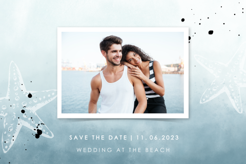 Strand save the date met foto en watercolor