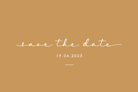 Save the date uitnodiging in een trendkleur