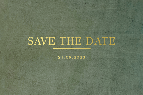 Donkergroene save the date uitnodiging
