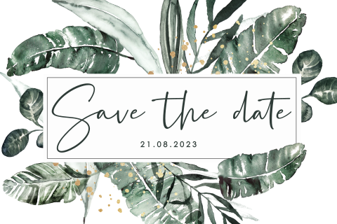 Save the date uitnodiging met jungle bladeren