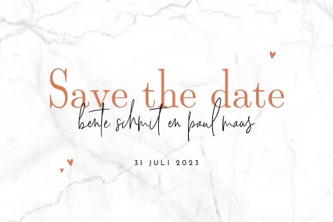 Save the date uitnodiging met marmer