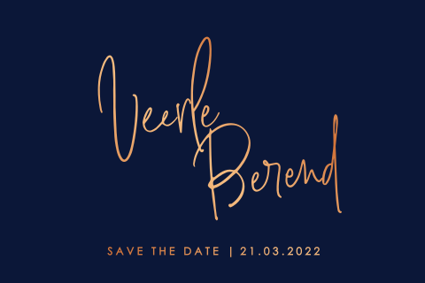 Save the date met namen calligraphy in koperfolie