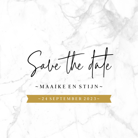 Chique save the date kaart met marmer en goud