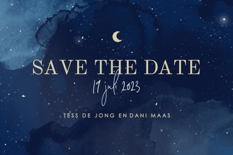 Save the date uitnodiging stardust celestial watercolor maan