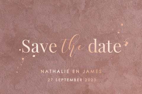 Save the date velvet look met roséfolie calligraphy