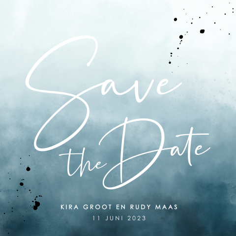 Save the date met watercolor en spetters
