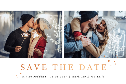 Save the date winter foto koperfolie