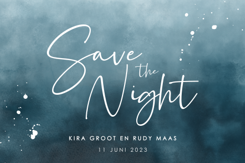 Save the night met watercolor en spetters