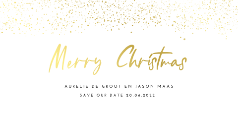 Stijlvolle kerst save the date met goudfolie spetters