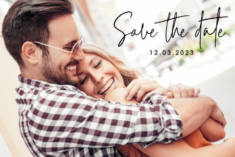 Moderne save the date met foto
