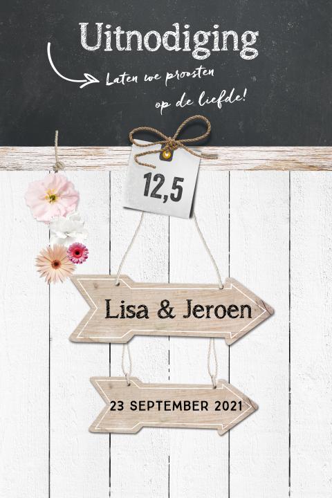 trendy en hip deze uitnodiging 12,5 jaar getrouwd met hout