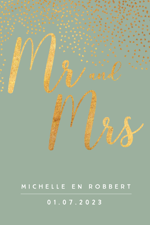 Trouwkaart Mr and Mrs met goud