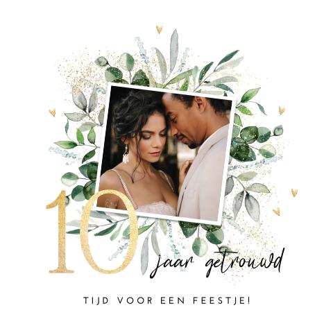 uitnodiging 10 jaar getrouwd in botanische stijl met foto