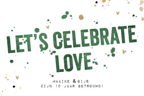 stoere 10 jaar getrouwd jubileum uitnodiging met groen en goud