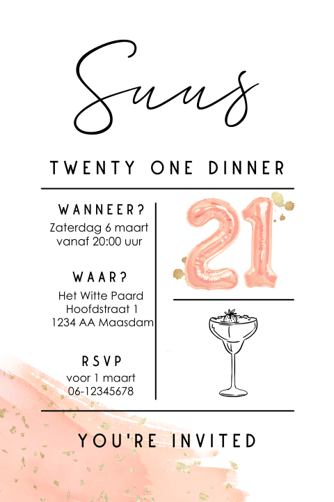 Verrassend Uitnodiging 21-diner | Made for Moments HD-73
