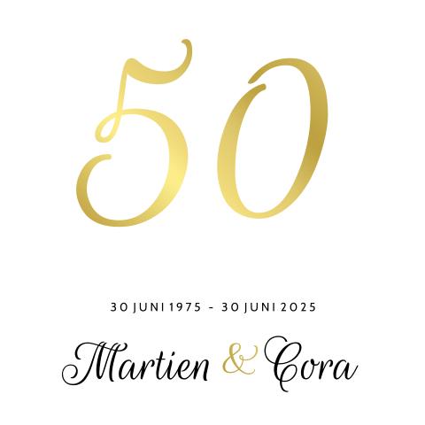 Beroemd Uitnodiging goudfolie 50 jaar getrouwd stijlvol #SO53