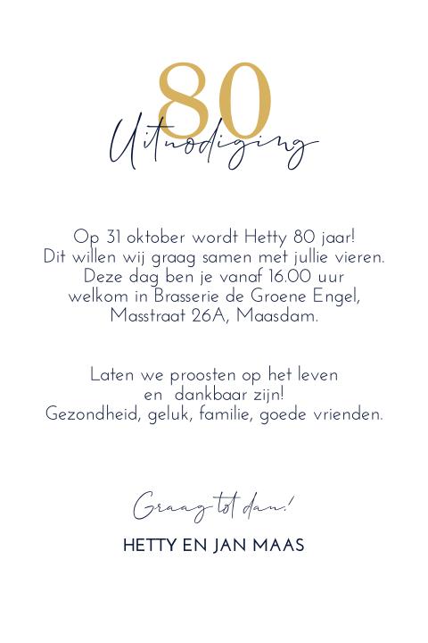 Uitnodiging 80 Jaar Verjaardag Madeformoments