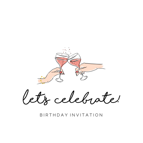 Trendy birthday invitation met stijlvolle illustratie