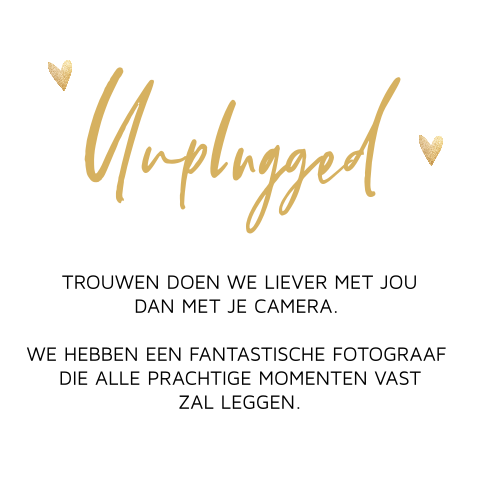 Unplugged wedding kaartje