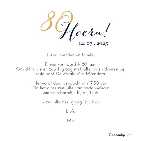 Hedendaags Uitnodiging 80 jaar verjaardag - MadeforMoments KP-05