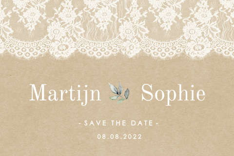 Vintage save the date met kant en kraft