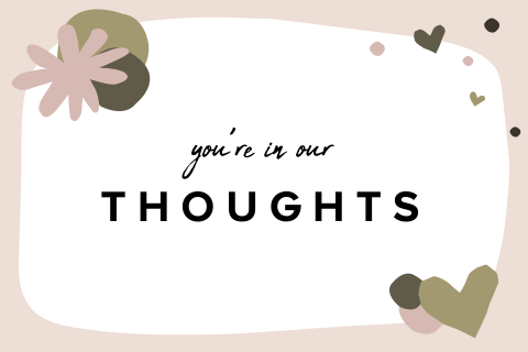Wenskaart you're in our thoughts met illustraties