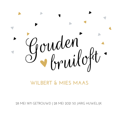 Ongekend Gouden jubileum uitnodiging met confetti ZF-13