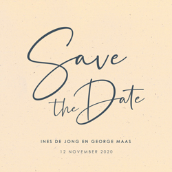 Save the date uitnodiging calligraphy duurzaam