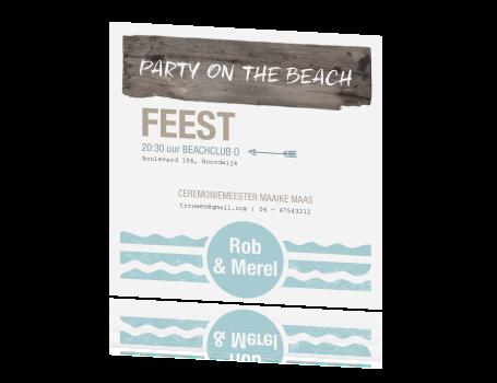 Stoer en stijlvol in strand thema deze trouwkaart - Kleuren die zich vermengen met de blauwe ...