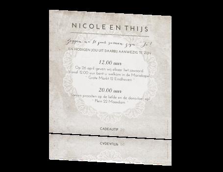 Onwijs Vintage wedding card met sierlijke typografie en kant NG-54