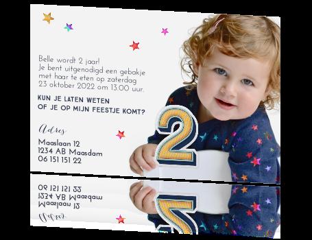 Extreem Super lieve kaart uitnodiging kinderfeestje 2 jaar VC29