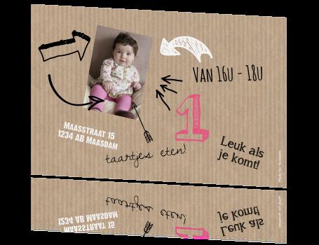 Iets Nieuws Uitnodiging verjaardag kind 1 jaar hip #TT33