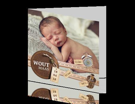 Origineel geboortekaartje met geboortegegevens origineel foto