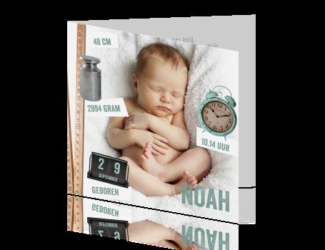 Moderne geboortekaart voor een jongen met fotografie - Origineel foto kind ...
