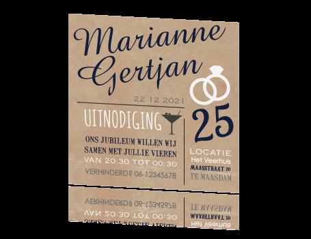 uitnodiging 25 jarig huwelijk maken Originele uitnodiging jubileum huwelijk typografisch uitnodiging 25 jarig huwelijk maken