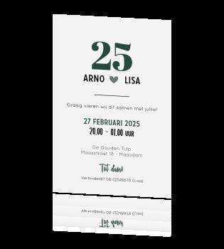 Voorkeur Uitnodiging 25-jarig huwelijk met leuke typografie #NQ05