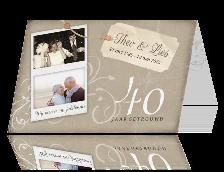 kaarten 40 jarig huwelijksfeest Uitnodiging 40 jarig huwelijksfeest met polaroid kaarten 40 jarig huwelijksfeest