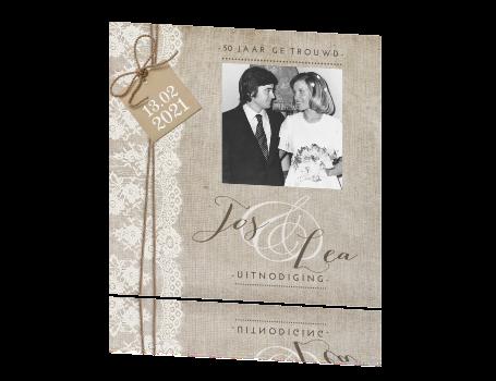 uitnodiging 50 jarig jubileum Vintage uitnodiging 50 jaar getrouwd met kant uitnodiging 50 jarig jubileum